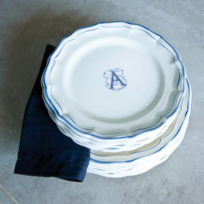 Gien Filet Blue Monogram Dinnerware