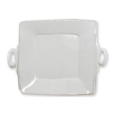 Vietri Lastra Light Gray Handled Square Platter