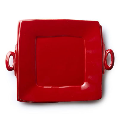 Vietri Lastra Red Handled Square Platter