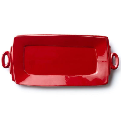 Vietri Lastra Red Handled Rectangular Platter