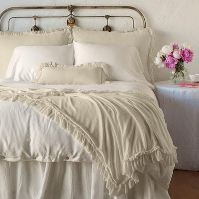 Bella Notte Linens Loulah Parchment Throw Blanket