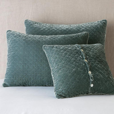 Bella Notte LInens Silk Velvet Quilted Eucalyptus Pillow Shams