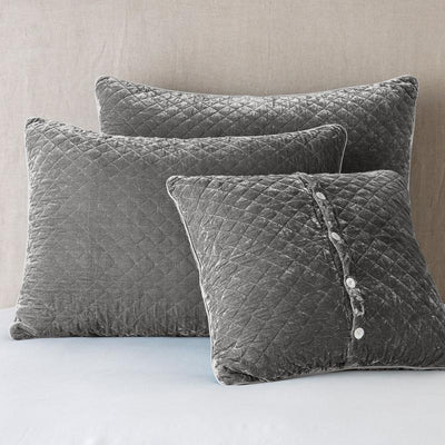Bella Notte Linens Silk Velvet Quilted Fog Pillow Shams