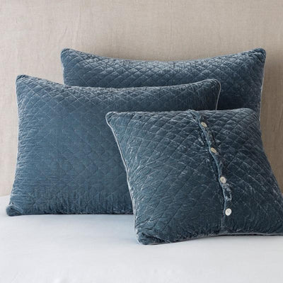 Bella Notte Linens Silk Velvet Quilted Mineral Pillow Shams
