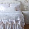 Bella Notte Linens Silk Velvet Quilted White Throw Blanket