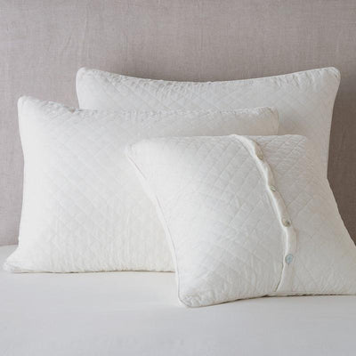 Bella Notte Linens Silk Velvet Quilted Winter White Pillow Shams