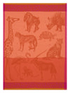 Le Jacquard Francais Planche Animaliere Safari Orange Tea Towel
