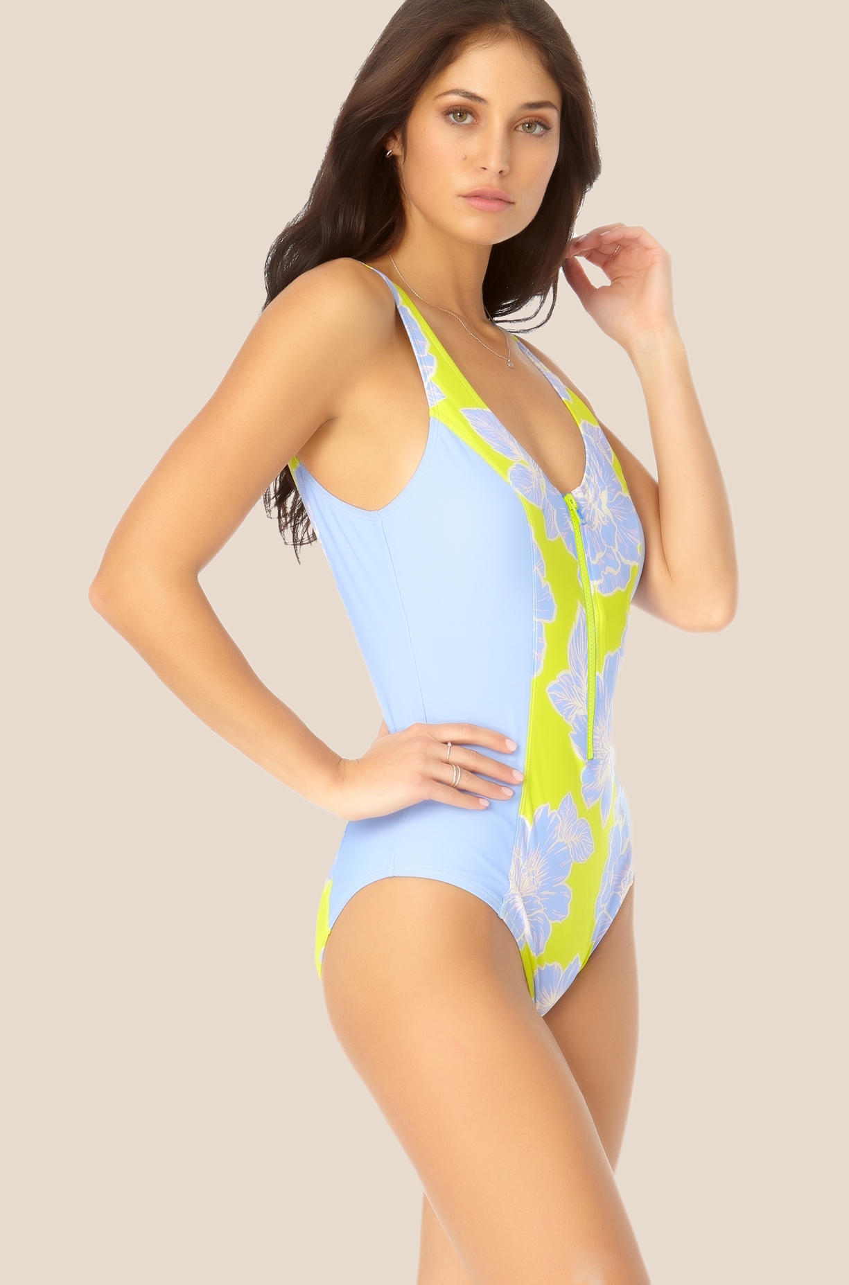Catalina - V Neck Zip Up One Piece Swimsuit