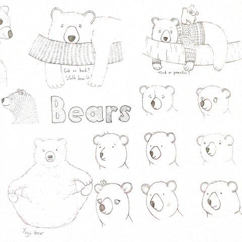bear character design sketches