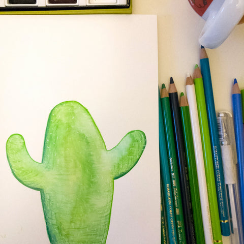 Cactus painting and pencils