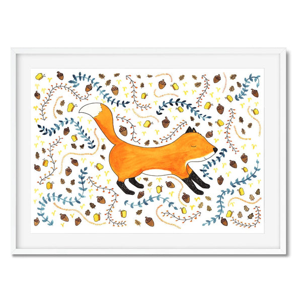 Fox print with a pattern around the fox.