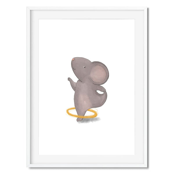 Kids wall art of a grey mouse playing with a hula hoop round his leg.