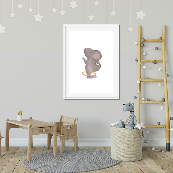 A print of a hula hooping grey mouse in a kids bedroom