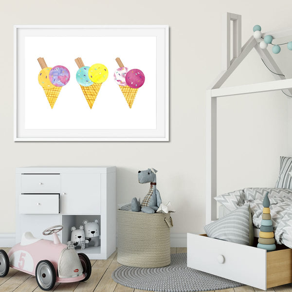 A modern kids bedroom with icecream wall art.