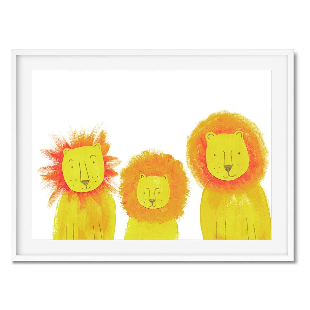 Wall art of three lions for kids safari bedrooms.