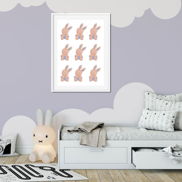 Bunny rabbit print in a young girls bedroom.