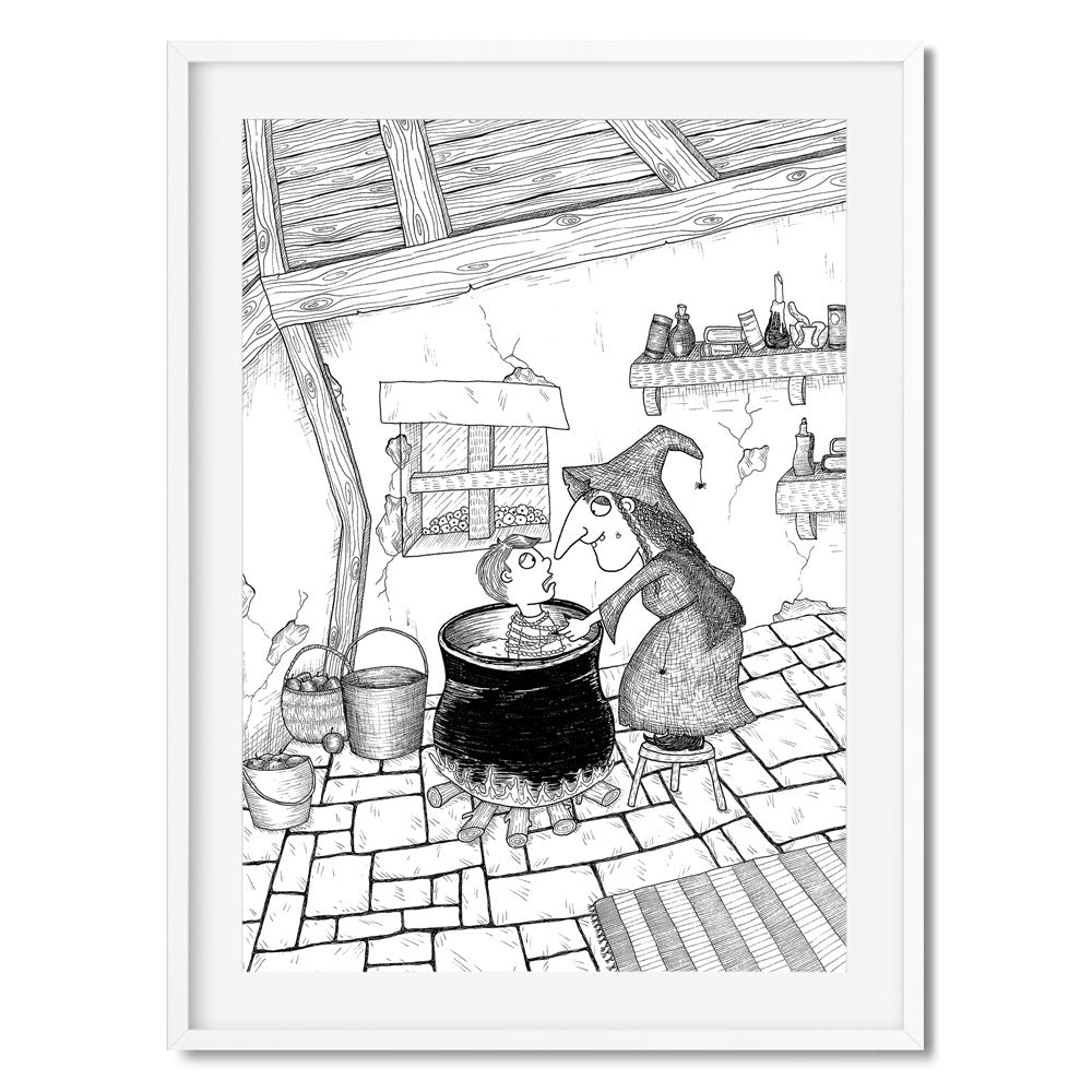 Black and white wall art of a witch putting a boy in a cauldron in her cottage.