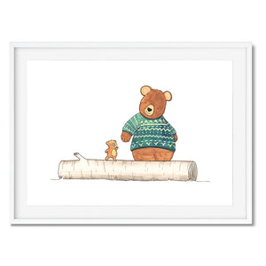 Wall art - A big bear helps a little bear walk along a tree trunk.