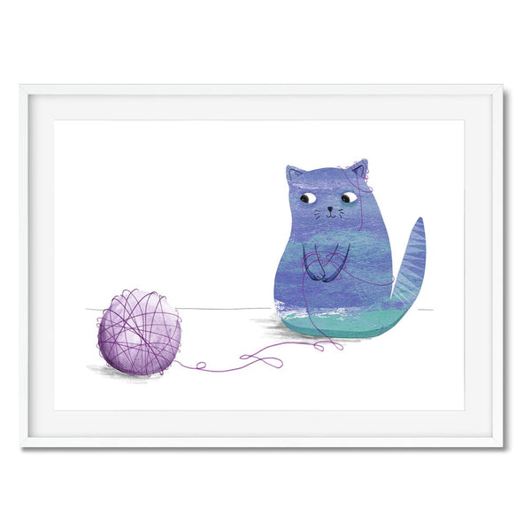 A print of a blue cat tangled up in a ball of purple wool. Great wall art for kids rooms.