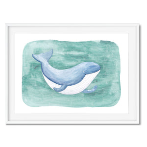 Cute blue whale wall art, ideal for kids rooms and bathrooms.