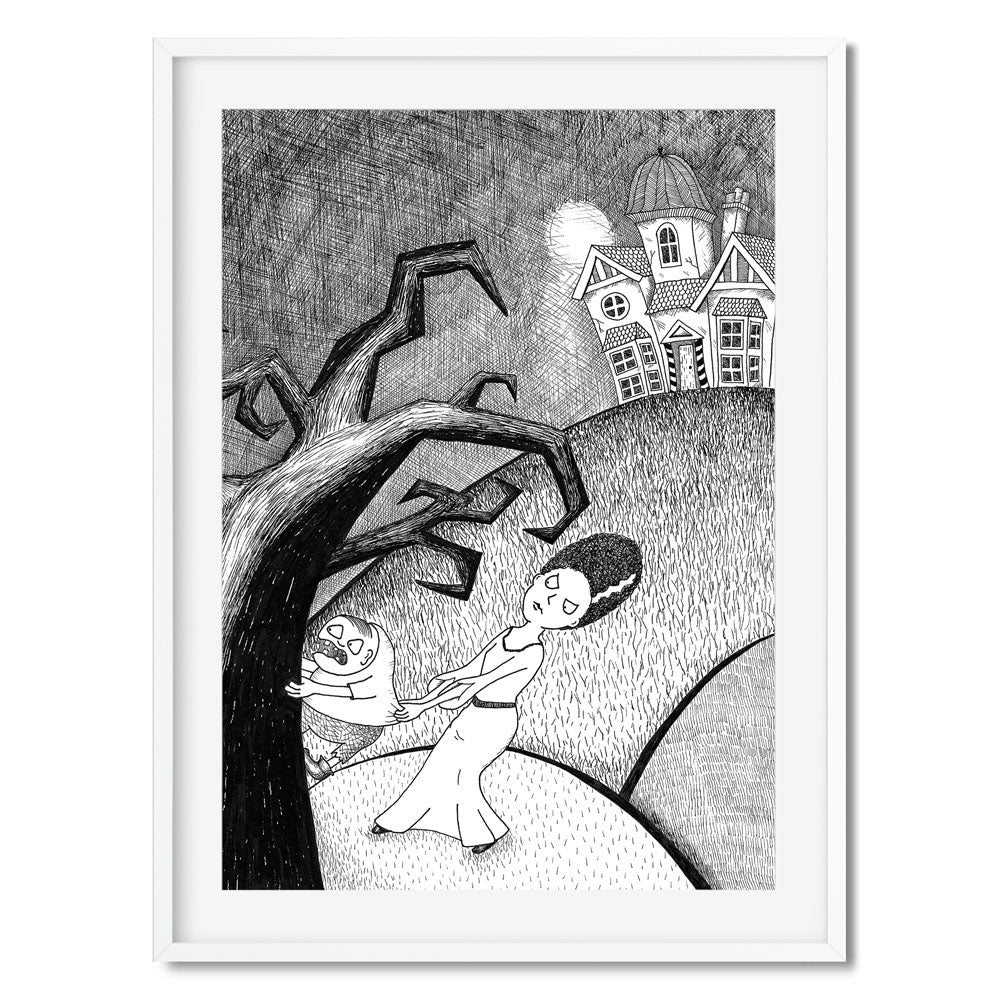 Black and white illustration of the Bride of Frankenstein trying to pull Igor into a spooky house.
