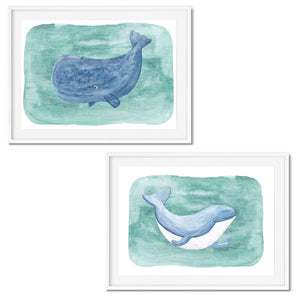 Set of two prints, a blue whale, and a sperm whale.