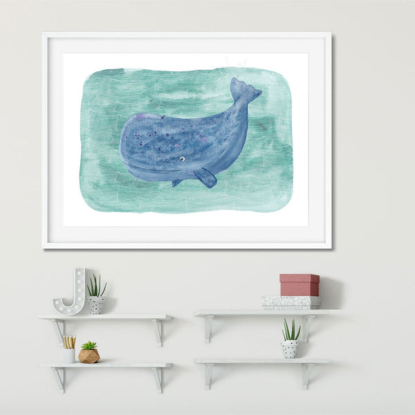 A whale art print ideal for bathrooms or kids bedrooms.