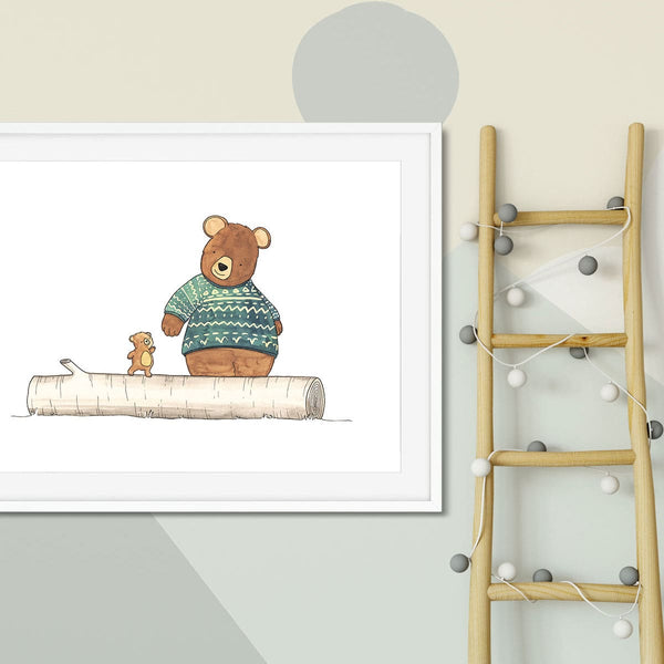 A print on the wall of a child's bedroom of a big and little bear.