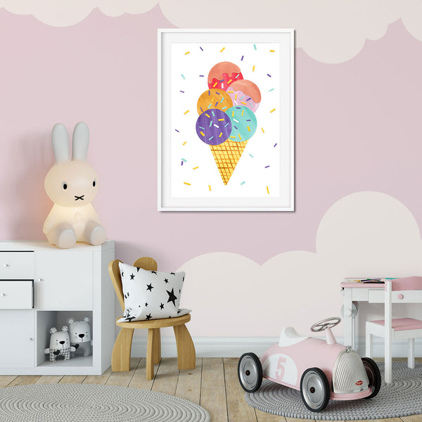 An icecream cone print in a little girls bedroom.