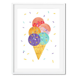 Wall art of a colourful icecream cone.