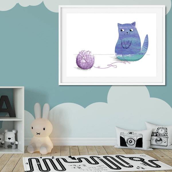 A cute cat print in a kids bedroom