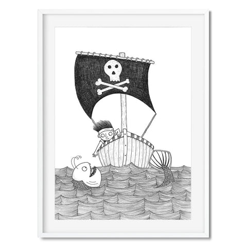 Black and white print of a pirate boy in a boat near a sea monster.