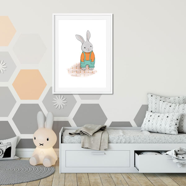 A little girls room with wall art of a gardener bunny rabbit.