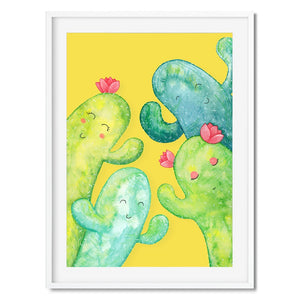 Colourful cactus family art print, great for kids bedrooms.