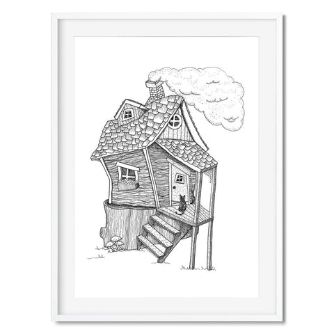 A black and while print of a crooked cottage, maybe a witch lives here?