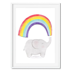 Wall art of a grey elephant squirting out a rainbow. Includes collage elements.