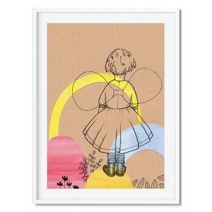 Wall print of a line drawing of a girl with fairy wings against a collage background.