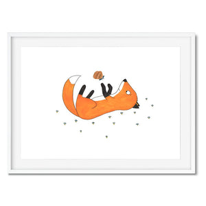 Wall art for kids of a baby fox playing with a butterfly.
