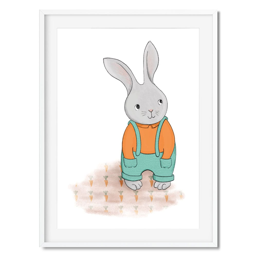 An illustration of a cute little gardener bunny rabbit in his carrot patch.