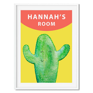 Personalised wall art of a happy cactus with your kids name above.