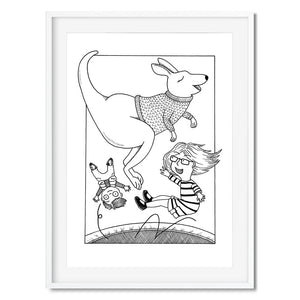 Wall art of a kangaroo jumping on a trampoline with two kids.