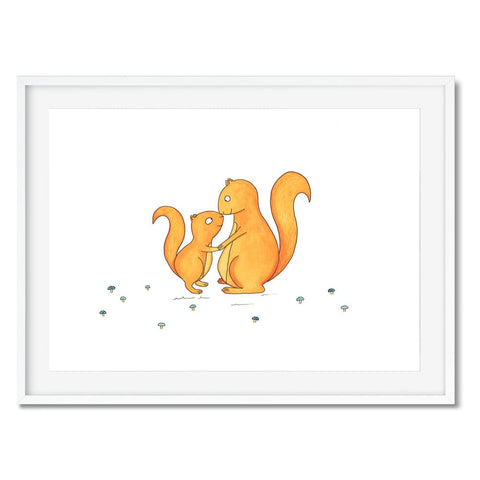 A print of a mum squirrel kissing her little squirrel.