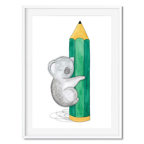Wall art of a cute koala hugging a green pencil.