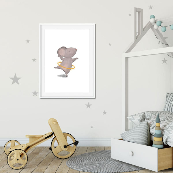 A little girls bedroom with a print of a grey hula hooping mouse on the wall.