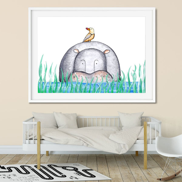 Wall art of a hippo hiding in a river in a kids bedroom.