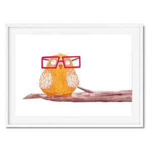 A print of an orange owl wearing glasses sitting on a branch.