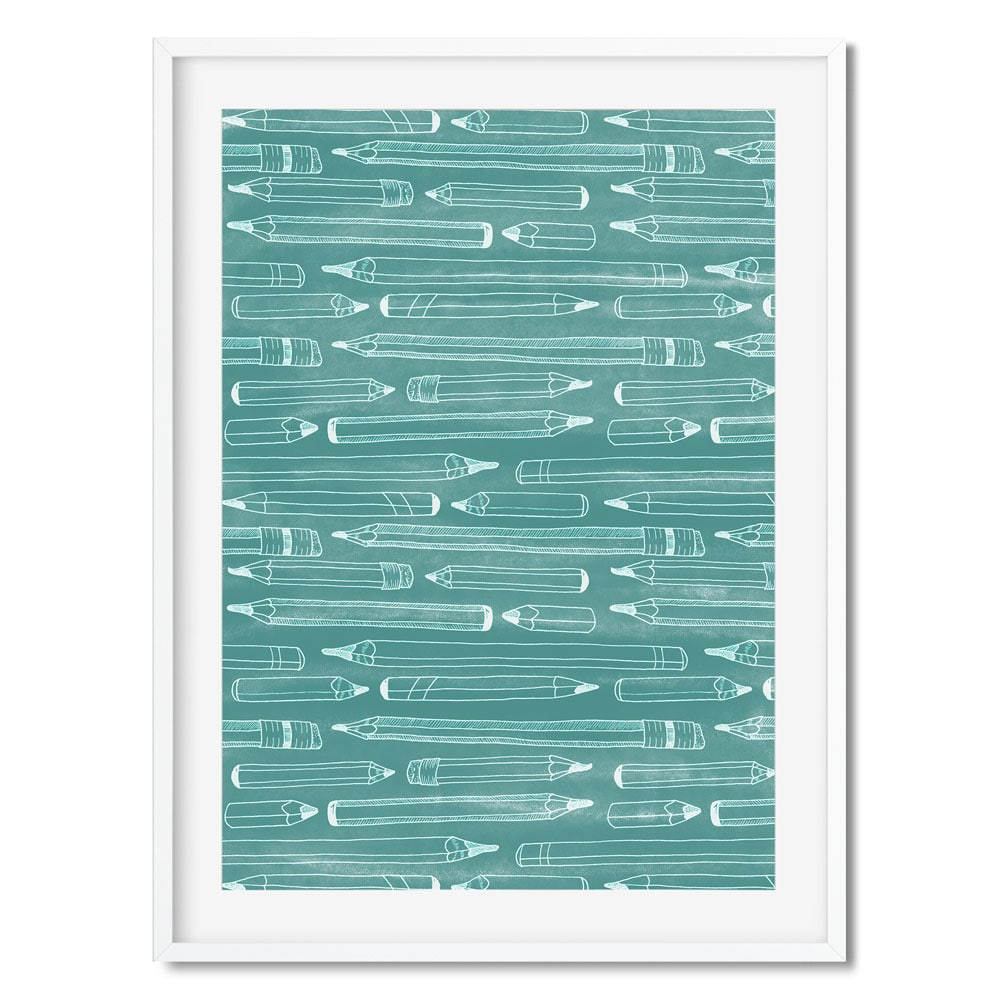 Teal wall art of a white pencil pattern.