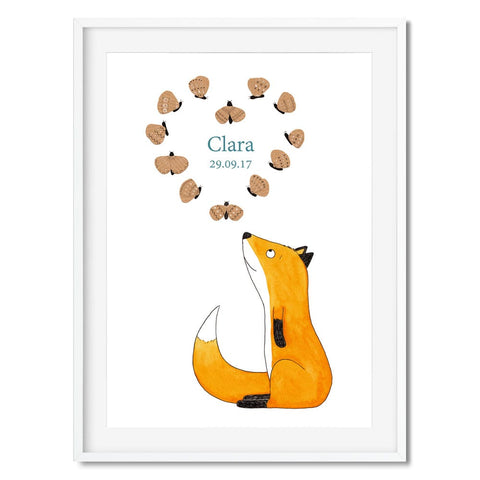 Personalised fox print for kids. Add their name and birthday into the butterfly heart.