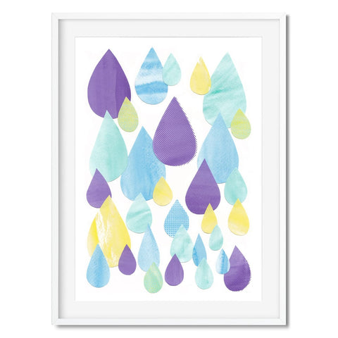 Wall art of purple, blue and yellow raindrops.