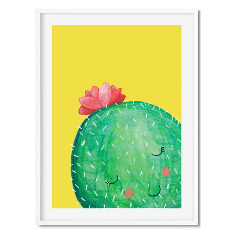 Wall art of a shy cactus character.